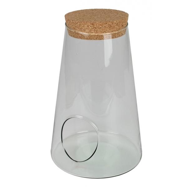 Glaspot konisch met kurk en gat