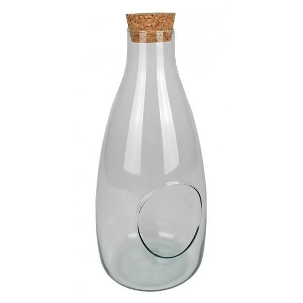 Glasfles konisch met kurk en gat