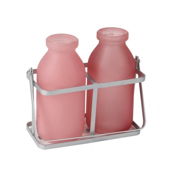 Rekje van metaal met 2 roze flesjes van glas