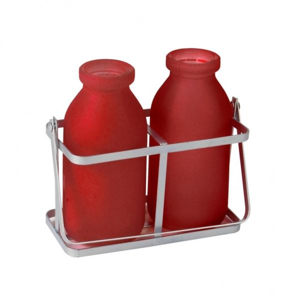 Rekje van metaal met 2 rode flesjes van glas