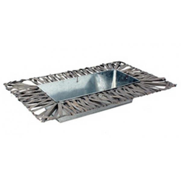 Schaal van zink rechthoekig met wilg grijs 40 cm