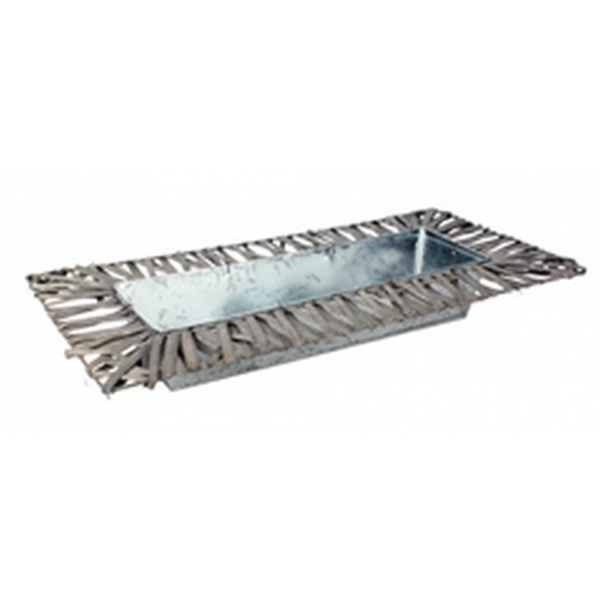 Schaal van zink rechthoekig met wilg grijs 50 cm