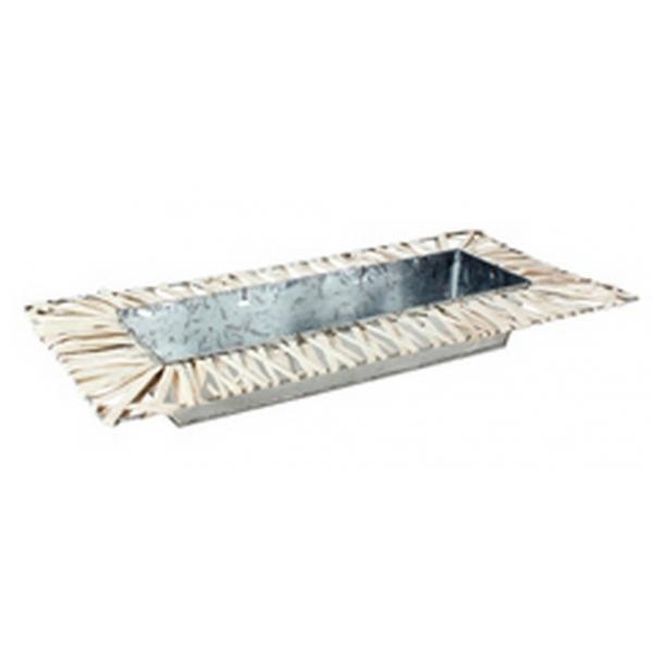 Schaal van zink rechthoekig met wilg wit 50 cm