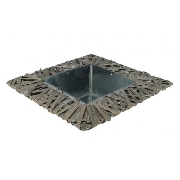 Plateau vierkant van zink met wilg grijs