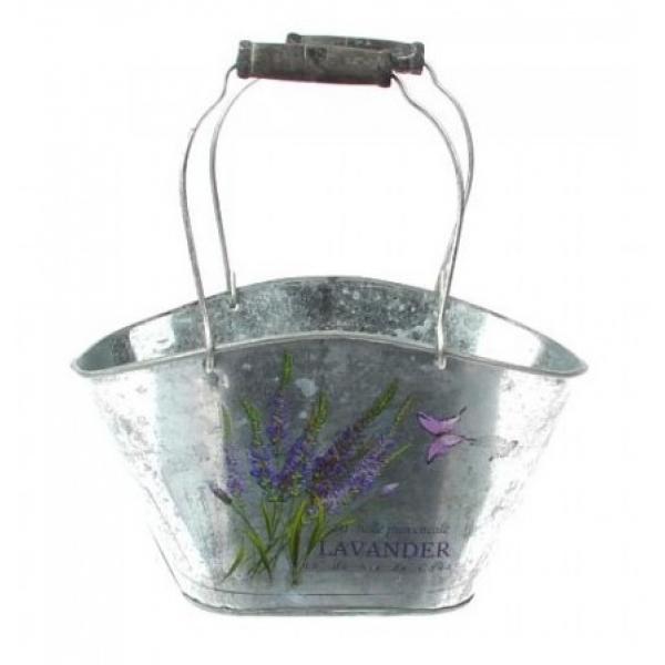 Zinken pot ovaal met Lavendel print