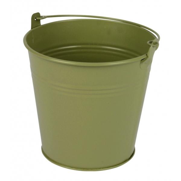 Zinken emmer groen mat Ø 13 cm