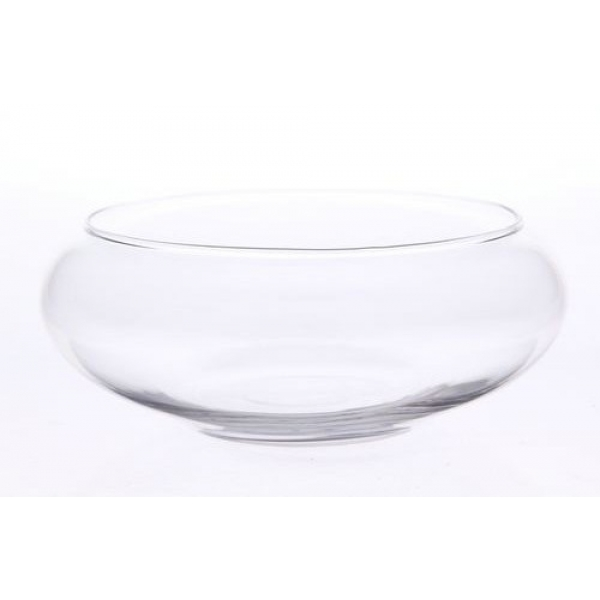 Ronde glazen schaal met voet