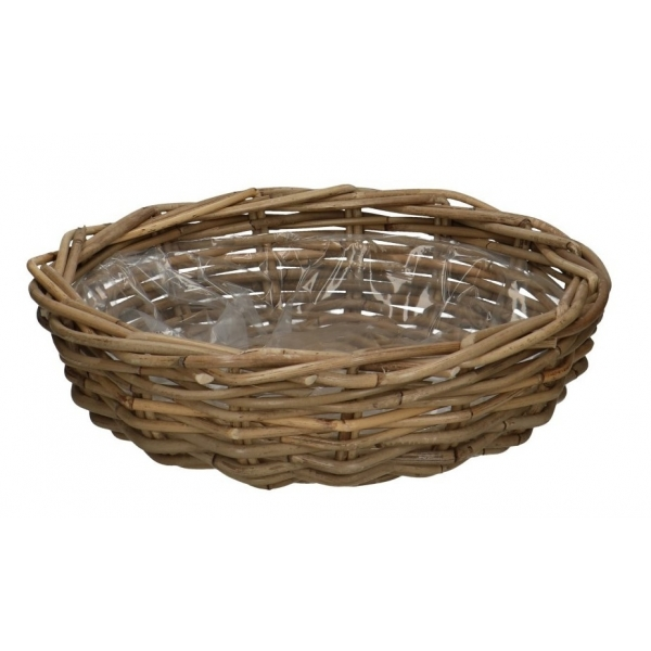 Rotan planter schaal antique grey