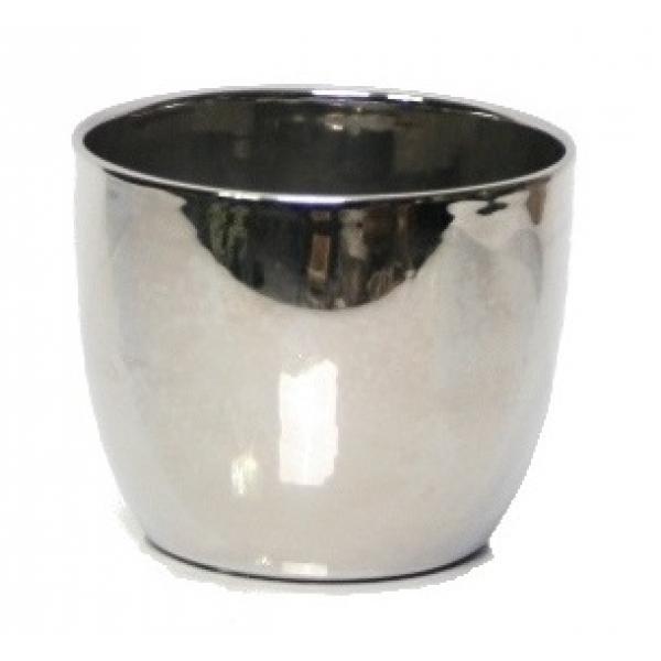 Keramieken bloempot Empo metallic zilver