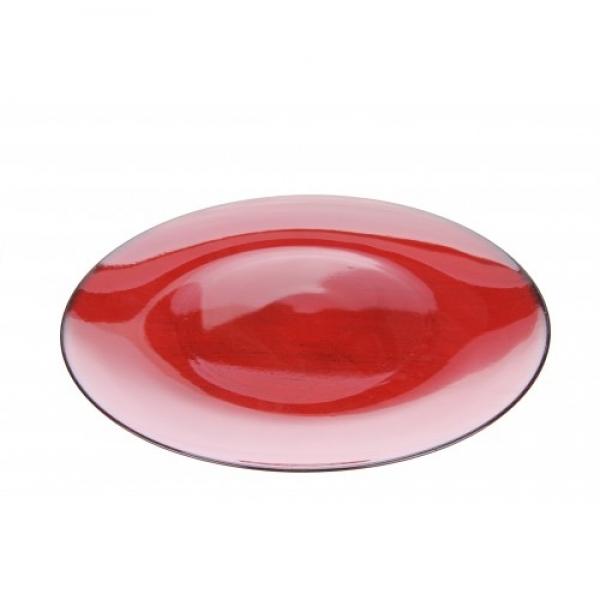 Bord kunststof rond kerst rood