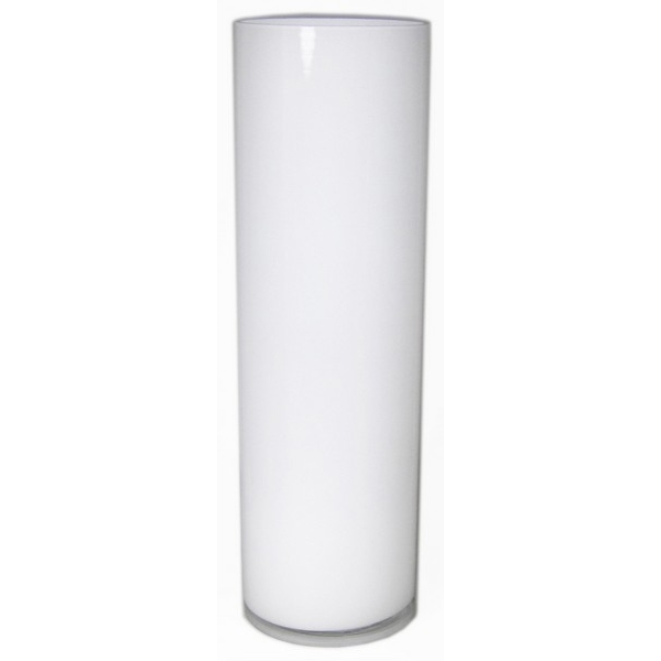 Cilinder vaas wit glas Ø 15 cm 60 cm hoog