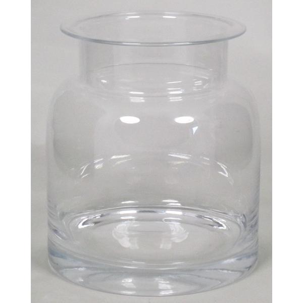 Glas vaas op houten voet