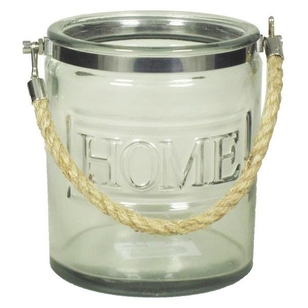 Glazen pot Home met touw L