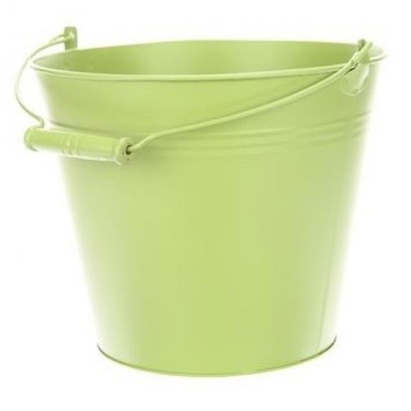 Zinken emmer in pastel groen Ø 24