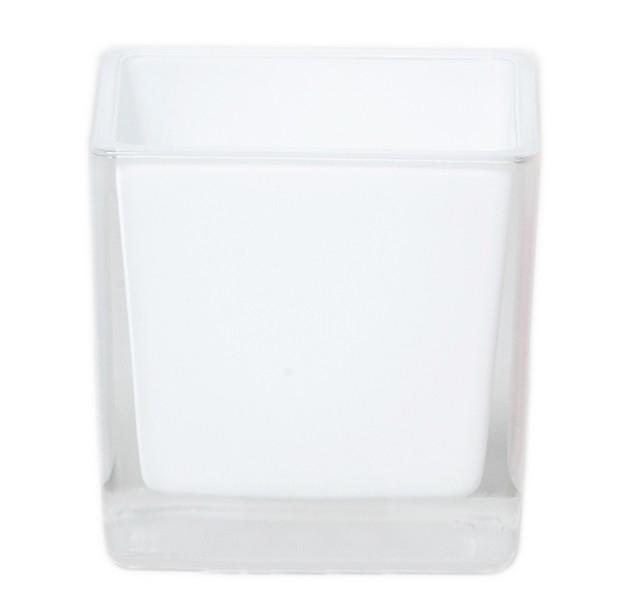 Accubak van gekleurd glas 8 cm in zwart en wit