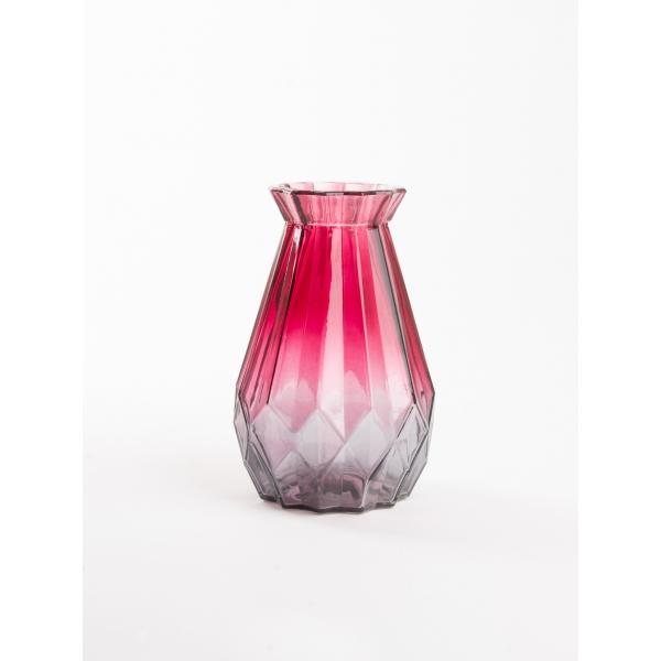 Vaas met twee kleuren rood/grijs 15 cm