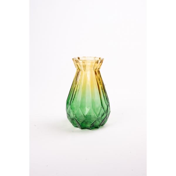 Vaas met twee kleuren geel/groen 15 cm