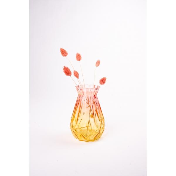 Vaas met twee kleuren roze/geel 15 cm