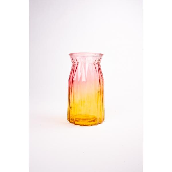Vaas met twee kleuren roze/geel 20 cm