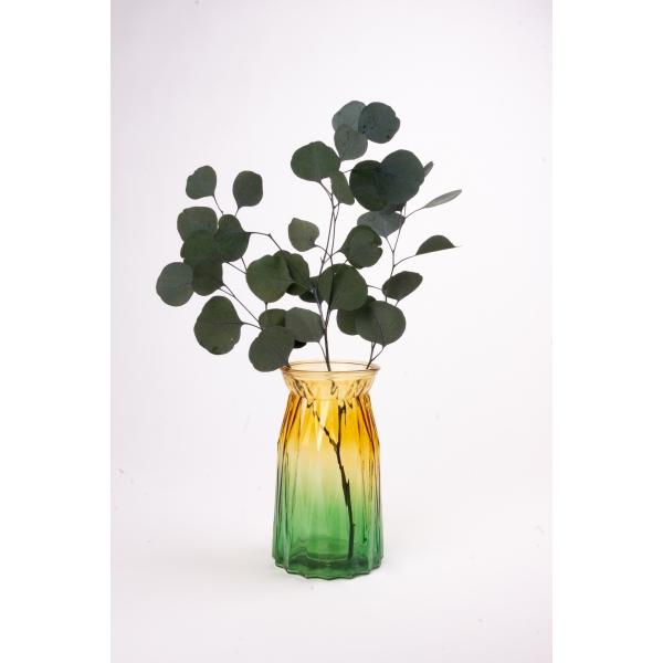 Vaas met twee kleuren geel/groen 20 cm