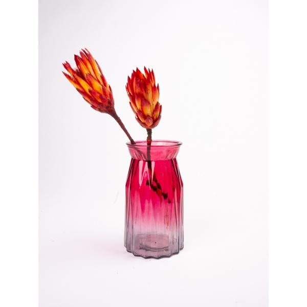 Vaas met twee kleuren rood/grijs 20 cm